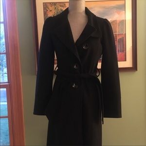Guess Black Wool Blend Puff Sleeve Belted Coat XS